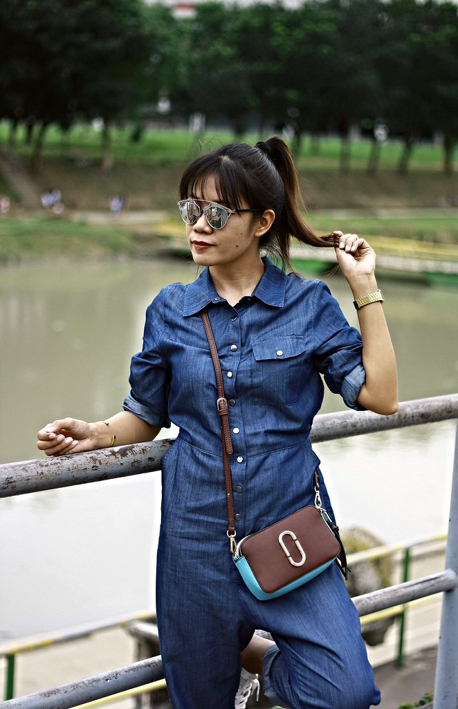 denim, denim jumpsuit, jumpsuit, irisie, crossbody bag,
