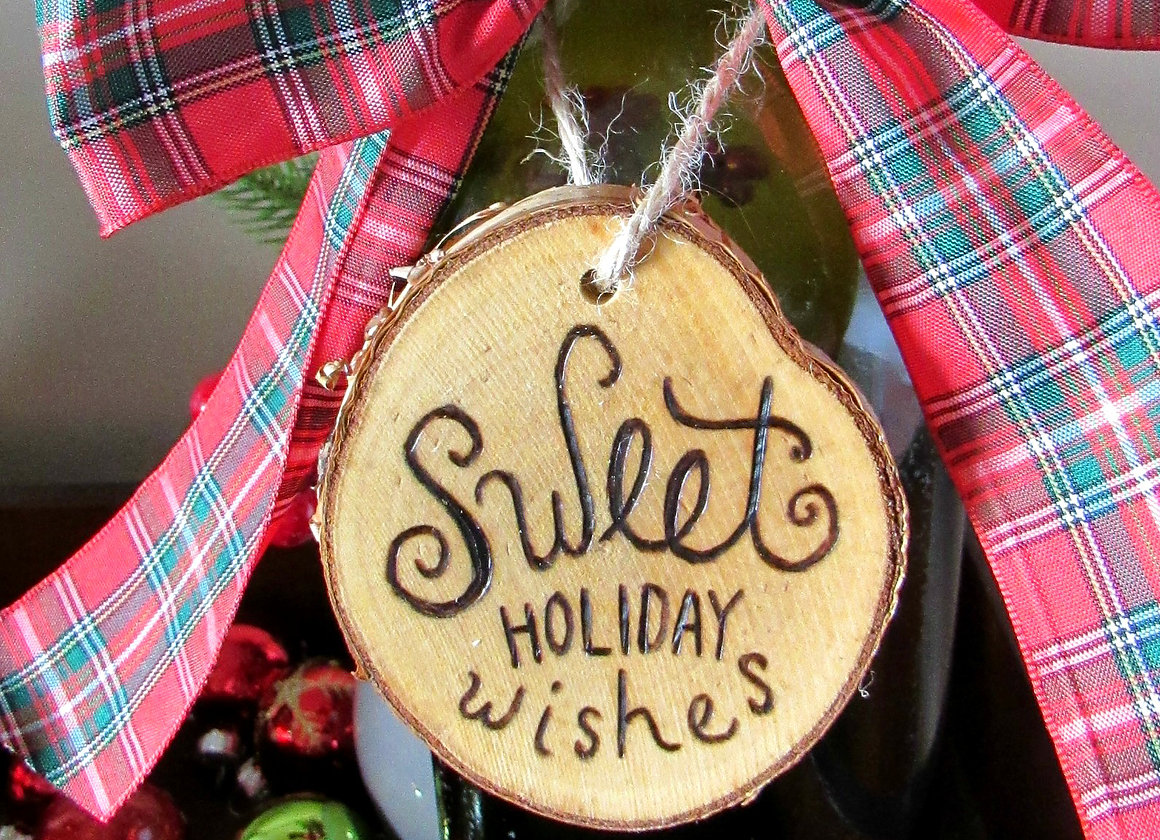 Michigan Gift Idea: Handmade Home Decor From Wood By Al // Featured - Sweet Holiday Wishes Christmas Tree Trunk Gift Tag (via Wading in Big Shoes)