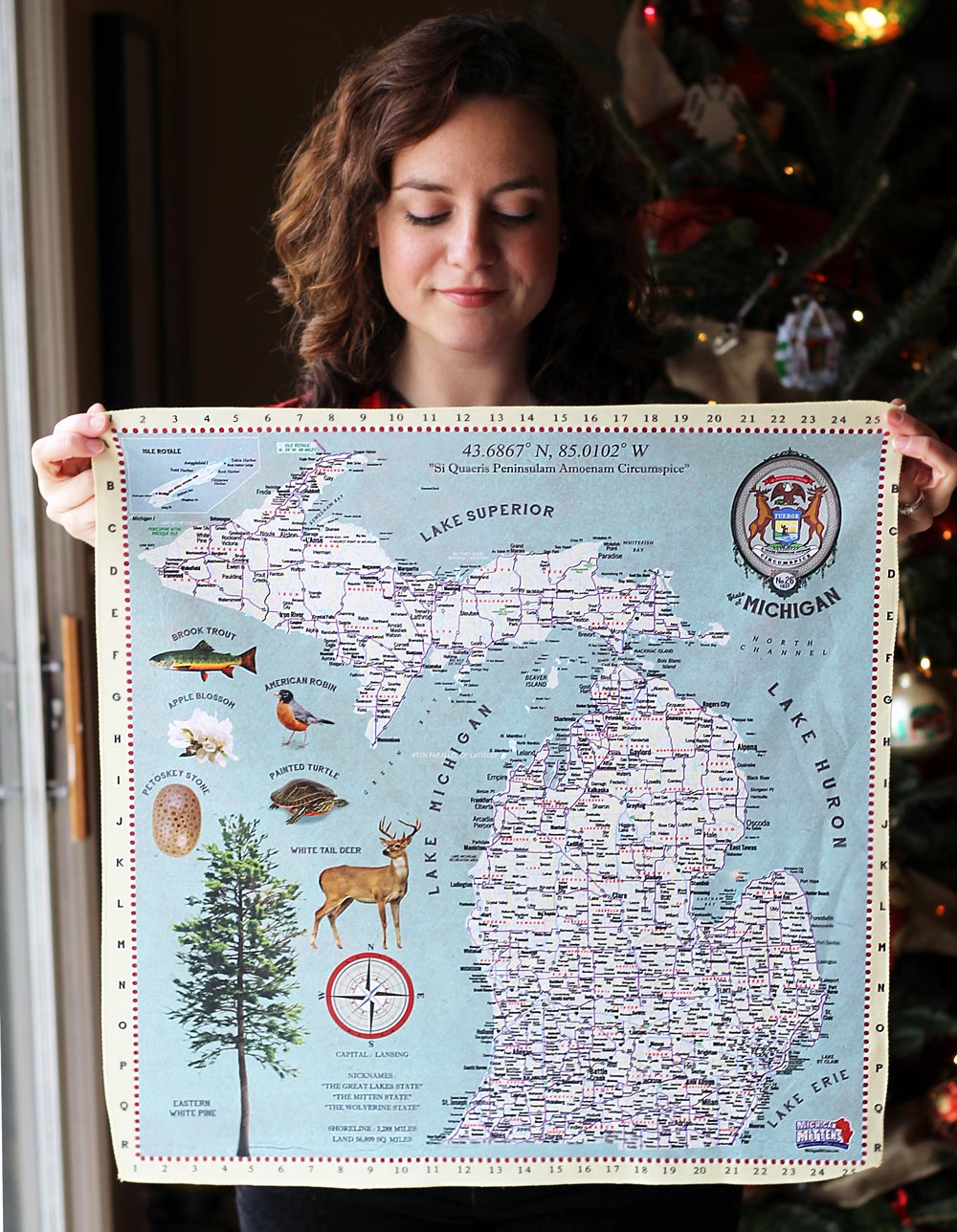 """Wear This Map"" Bandana from Michigan Mittens // 4 Fun Gift Ideas From Michigan Mittens  (via Wading in Big Shoes)"