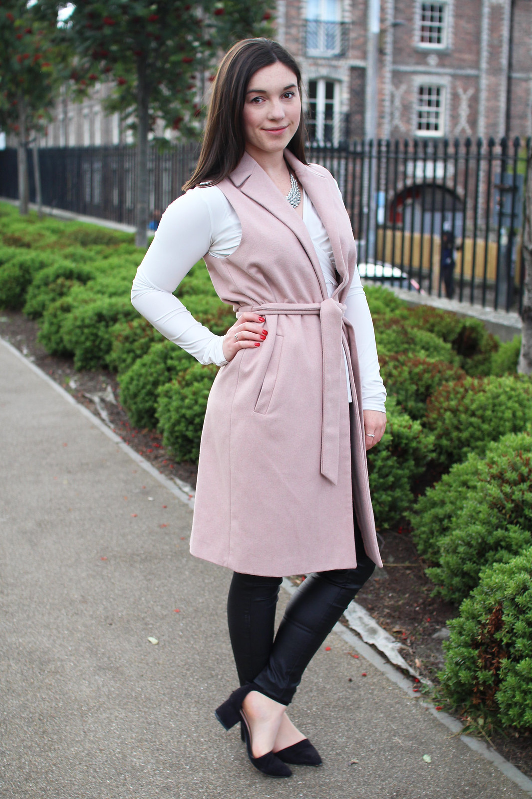 Pink sleeveless jacket trend UK fashion blogger The Little Things