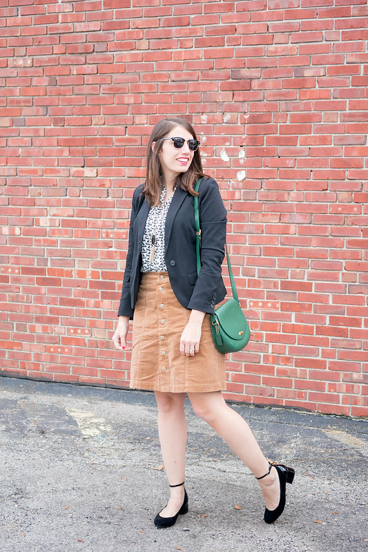 Loft rabbit utility blouse + black blazer + cord button skirt + black ankle strap pumps; fall work outfit | Style On Target blog