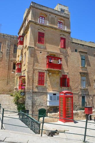 Rote Telefonzelle in Valetta