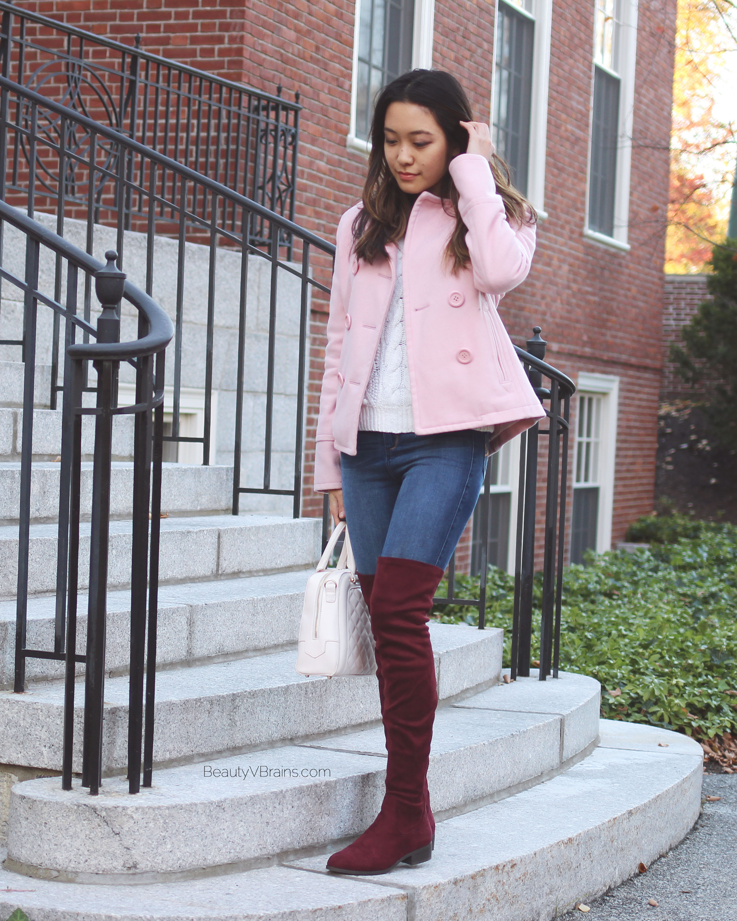 Burgundy over the knee boots and pink peacoat