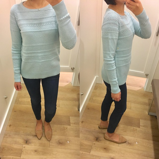 LOFT Stitched Stripe Sweater in minty heather, size XS regular