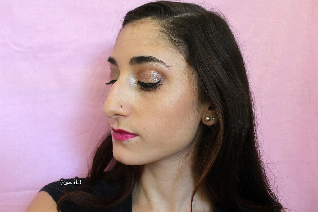 Brown shimmer makeup look