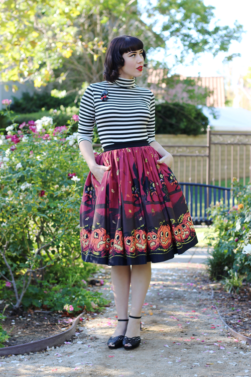 Bernie Dexter Coco Turtle Neck Top in Black and White Pinup Girl Clothing Pinup Couture Jenny Skirt in Pumpkin Border Print