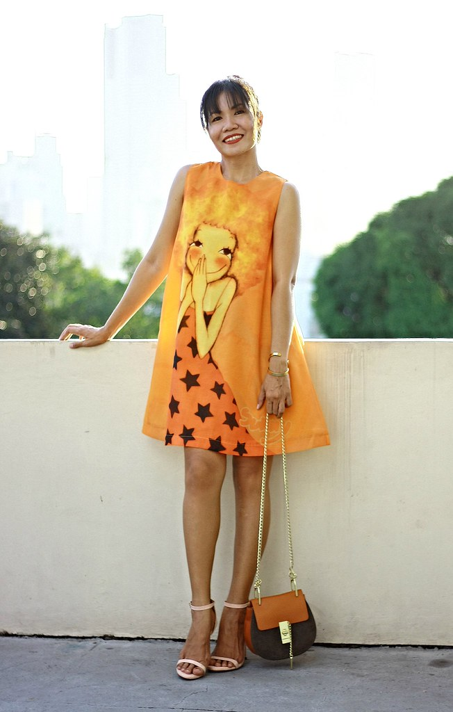 orange dress, cartoon print dress, fall dress, summer dress, spring dress, crossbody bag, chloe inspired bag