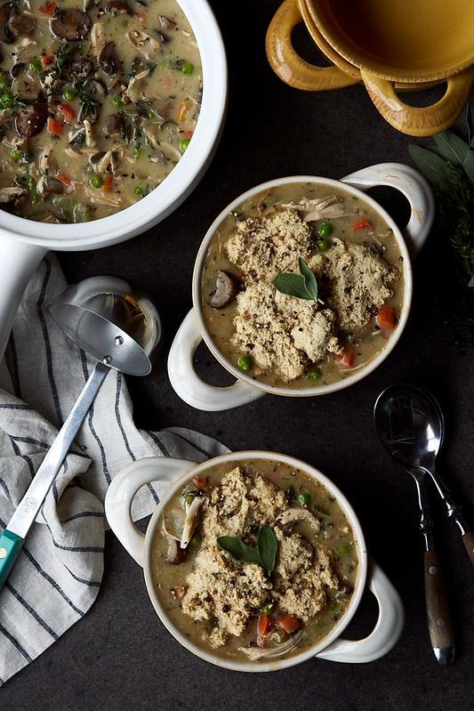 Turkey Pot Pie Soup with Grain-free Drop Biscuits