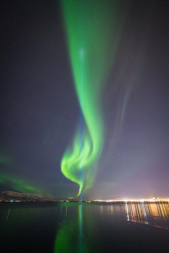Aurora Borealis with Imagine Peace Tower.