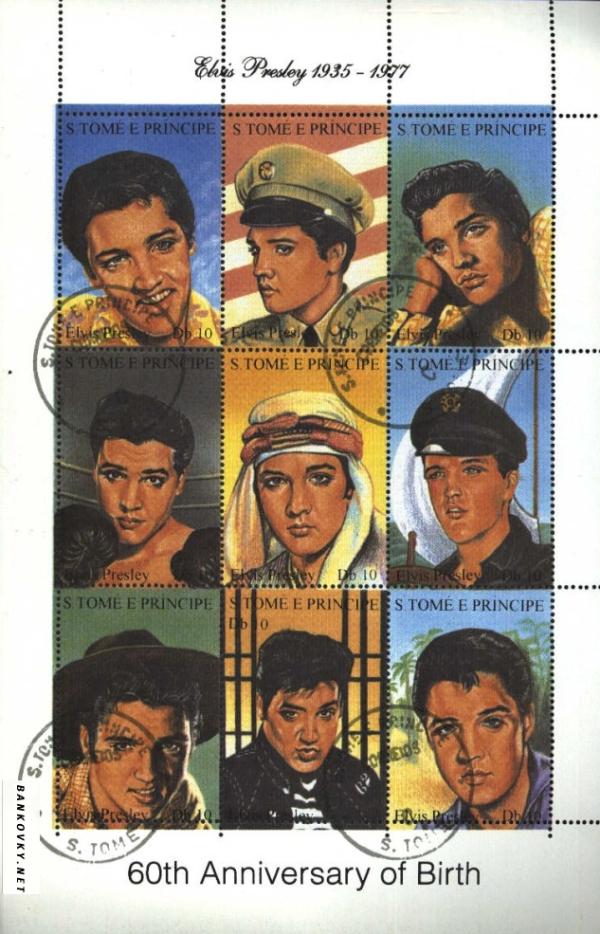 Známky Svätý Tomáš 1994 Elvis Presley, razÃ-tkovaný hárok