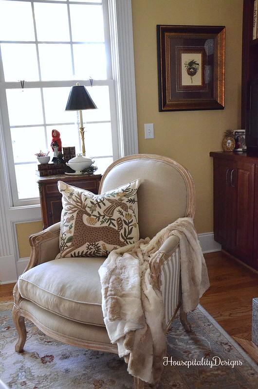 Pottery Barn Deer applique pillow - Soft Surroundings Helena Chair - Housepitality Designs