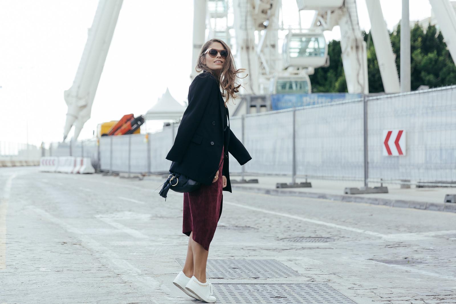 Jessie Chanes Seams for a desire - Burgundy Midi Skirt -5