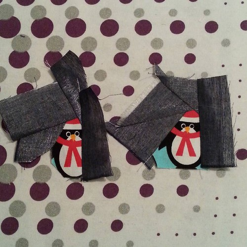 Two penguins are ready to jump in the icy water, but they'll have to shiver on the side until tomorrow because I'm flogged and my tea is calling. #penguinsinthesewingroom