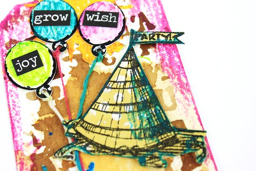 Meihsia Liu Simply Paper Crafts Mixed Media Tag Party Simon Says Stamp Monday Challenge Tim Holtz 4