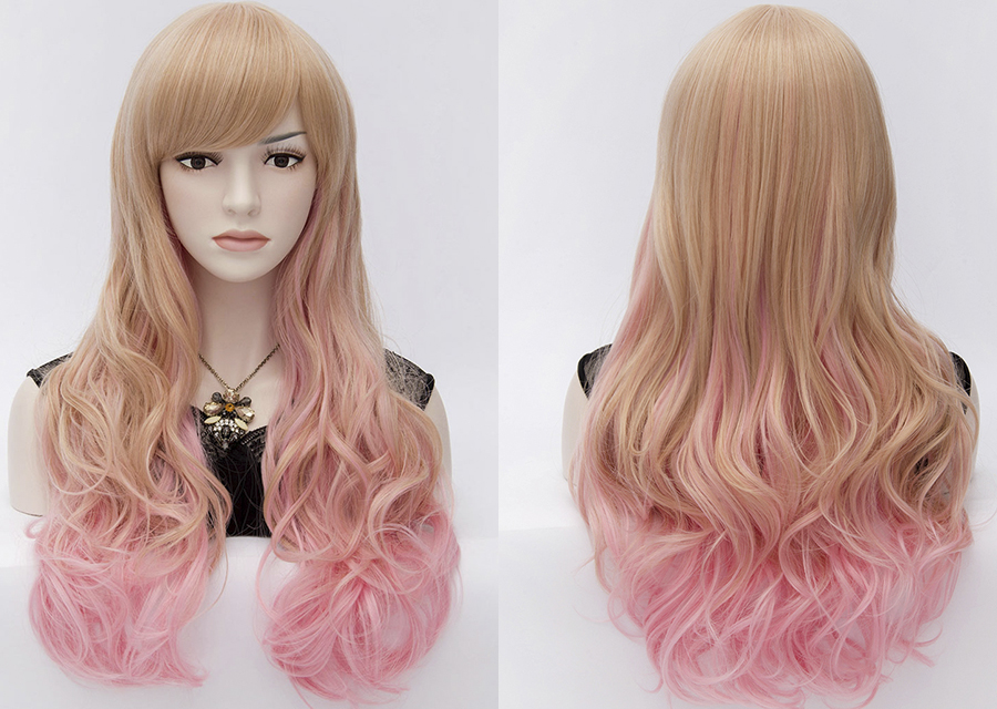 28 Inches Cosplay Wigs Capless 120% Wavy Synthetic Hair