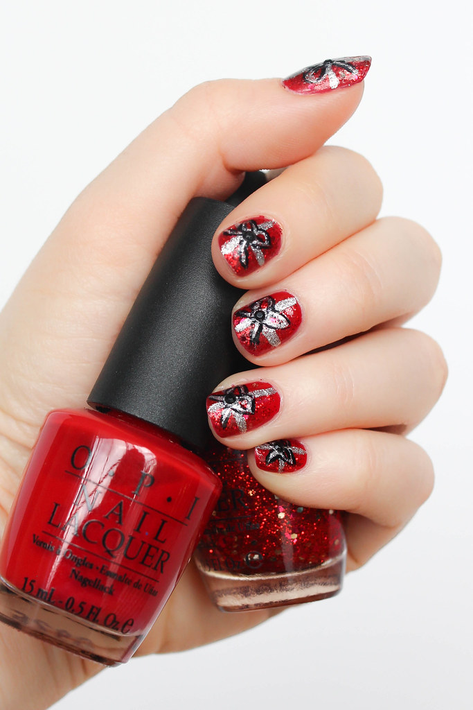 Red Glitter Holiday Bow Nail Art | Festive Christmas Manicure