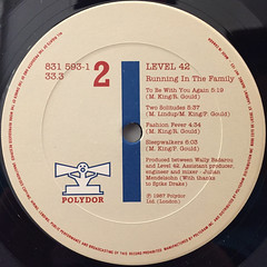 LEVEL 42:RUNNING IN THE FAMILY(LABEL SIDE-B)