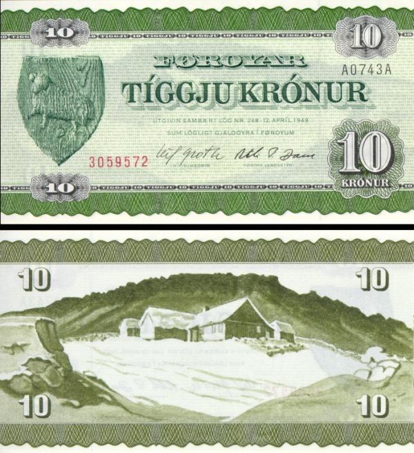 10 kronur Faerské Ostrovy 1974, P16a