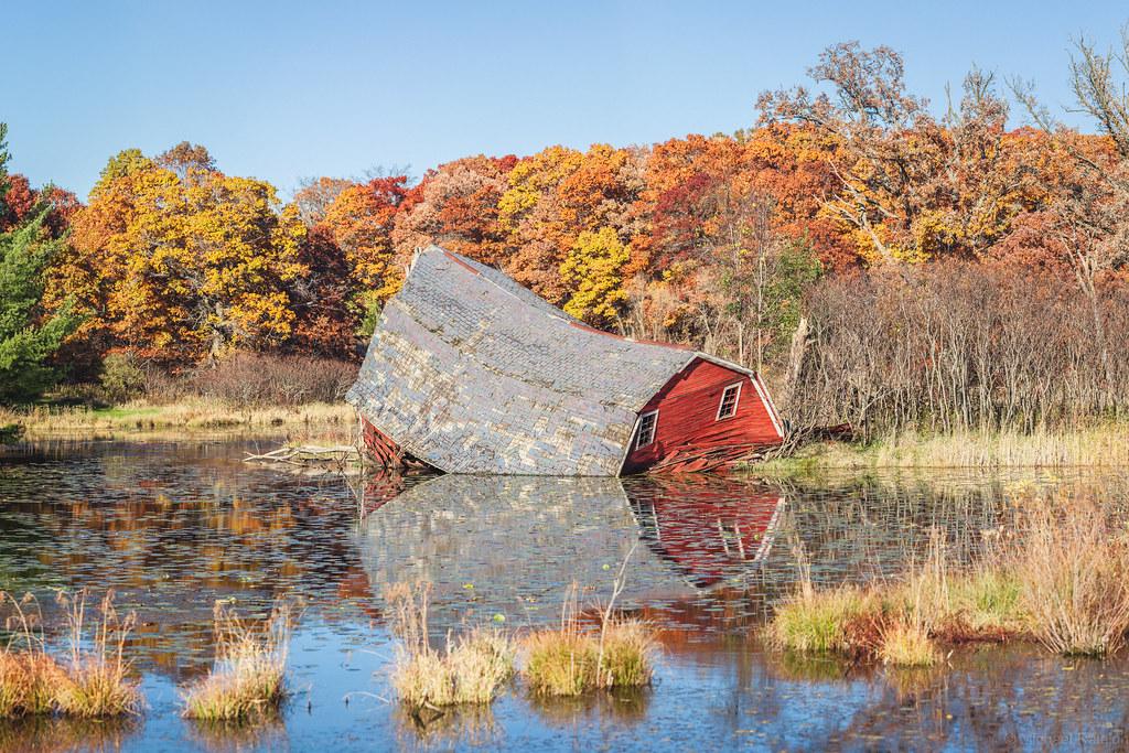 Sinking barn - blue sky