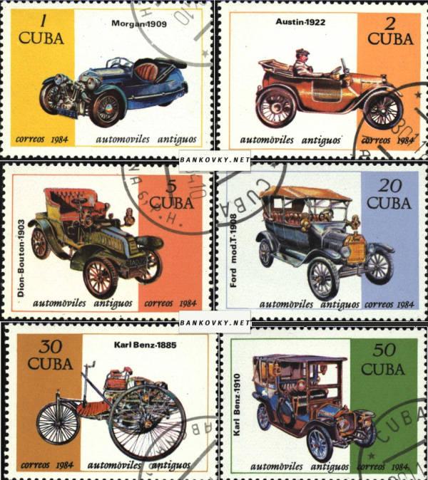 Známky Kuba 1984 Staré automobily, razÃ-tkovaná séria