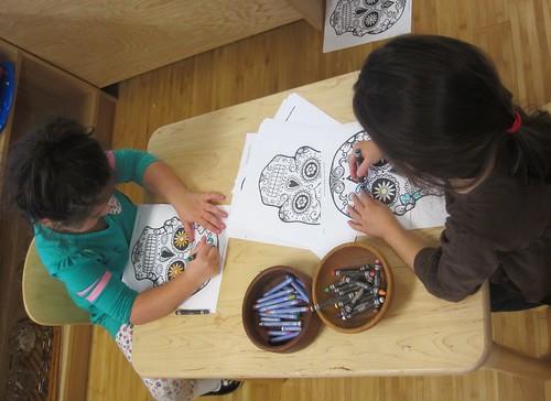 coloring sugar skulls