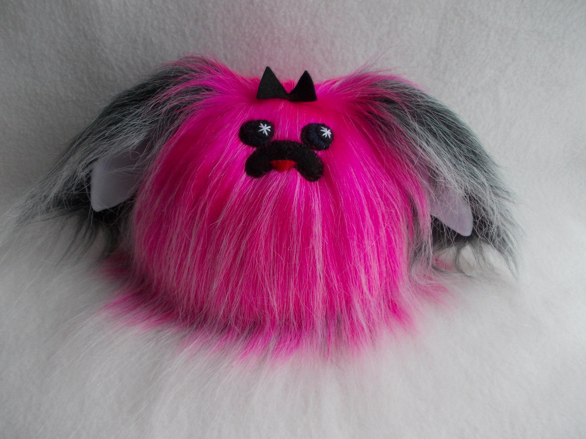 Pink Black small dog, plush toy, stuffed animal, kawaii plushies, fluffy dog, little  childrens handmade toy 100