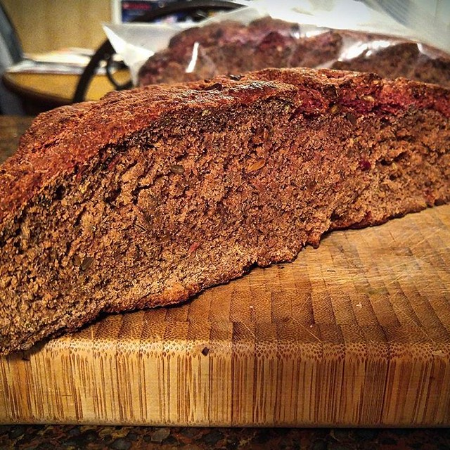 A delicious slice of my Seeded Beetroot Rye bread waiting for a Toast Topper! #yummy #yum #vegetarian #bread #beets #beetroot #rye #baking #cooking #eats #healthyfoodie