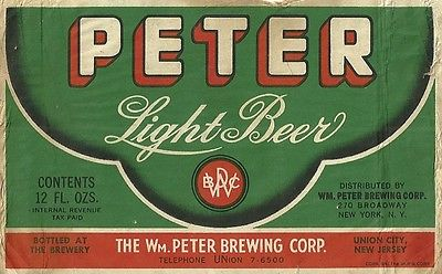 1930s-WILLIAM-PETER-BREWING-CO-UNION-CITY-NEW