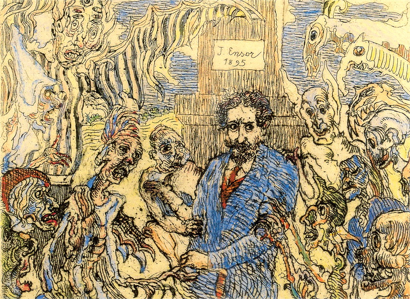 James Ensor - Demons Teasing Me, colored, 1895