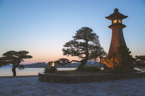 Sunset over the Lake Shinji