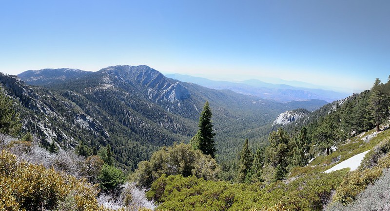 Panorama view of Tahquitz, Lily Rock, and Suicide Rock from the PCT near Strawberry Cienega