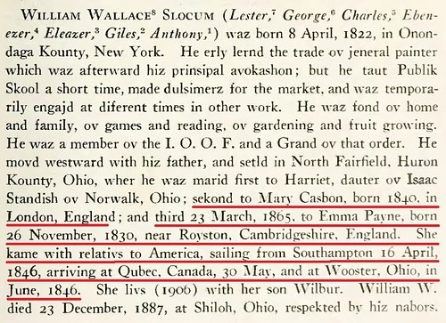 Mary Casbon Emma Payne in William Slocum genealogy