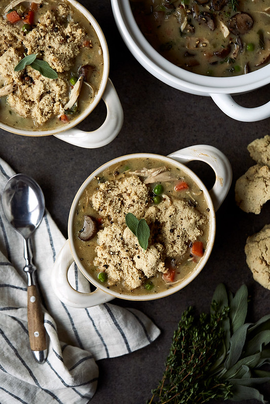 Turkey Pot Pie Soup with Grain-free Drop Biscuits