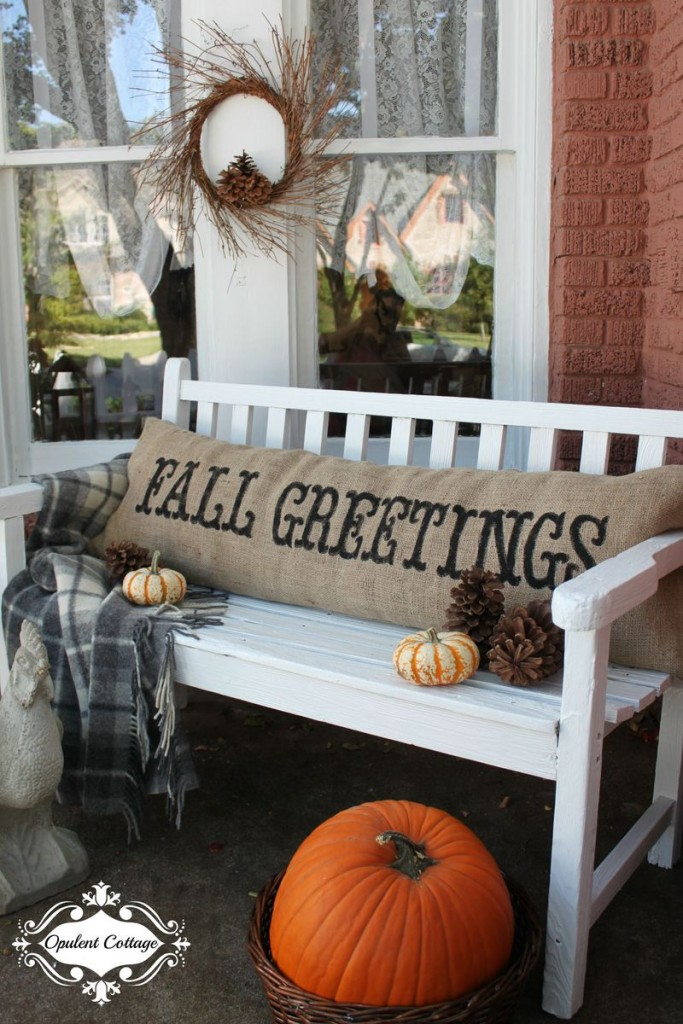 Fall Outdoor Porch Decor White Bench