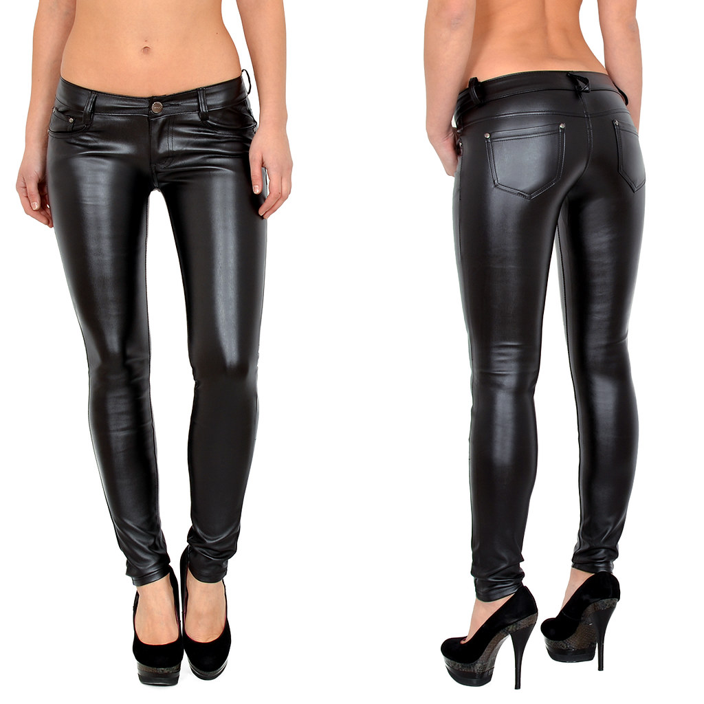 damen jeanshose r hrenjeans skinny h ftjeans jeans hose in leder optik h12 ebay. Black Bedroom Furniture Sets. Home Design Ideas