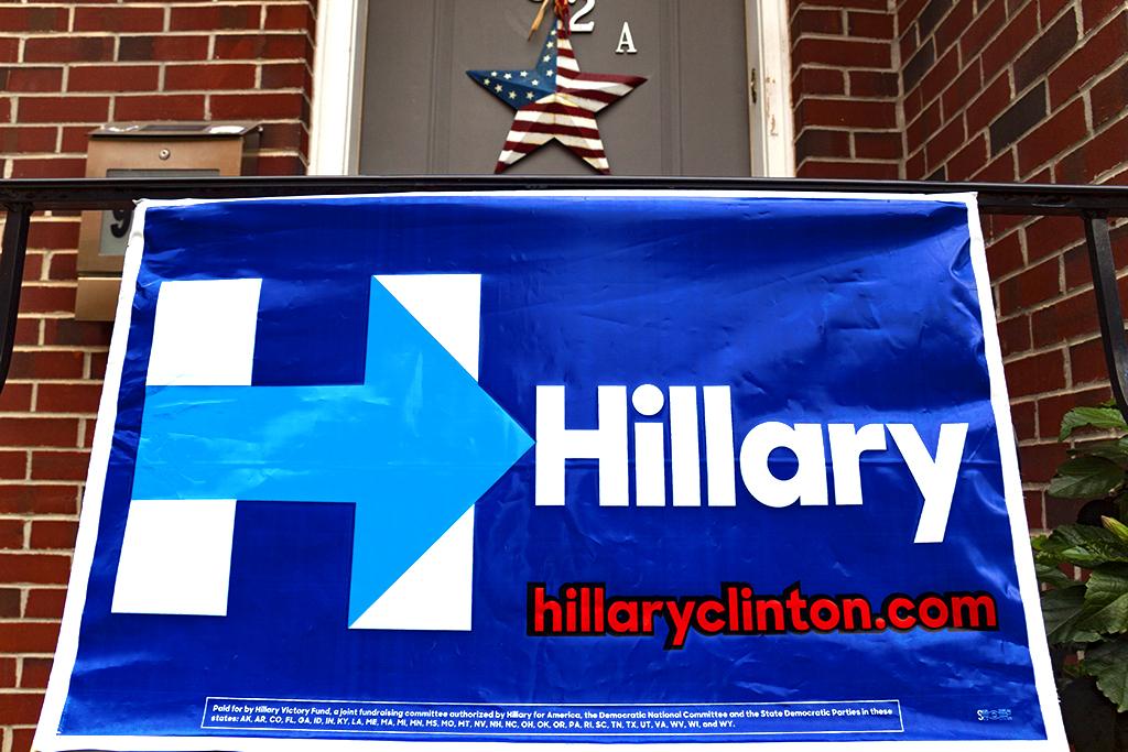 Hillary Clinton banner at 932A Ellsworth--Italian Market