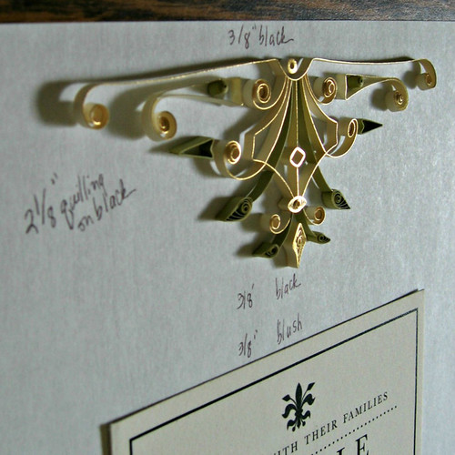 Quilled Wedding Invitation Mat - Detail