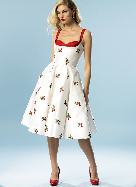 Butterick 5882 dress - a shelf bust dress with circle skirt. The shelf bust is disproportionately small.