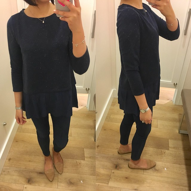 LOFT Flecked Two-In-One Sweater, size XS regular (review here)