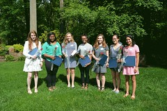 2016_ScholarshipTeaDSC_0107; Scholarship Winners living in Princeton: from left to right-Marie Louise James, Denise Spivey, Emma Brigaud, Adria Backu, Amy Hauer, Amy Guan, Nikhita Salgame