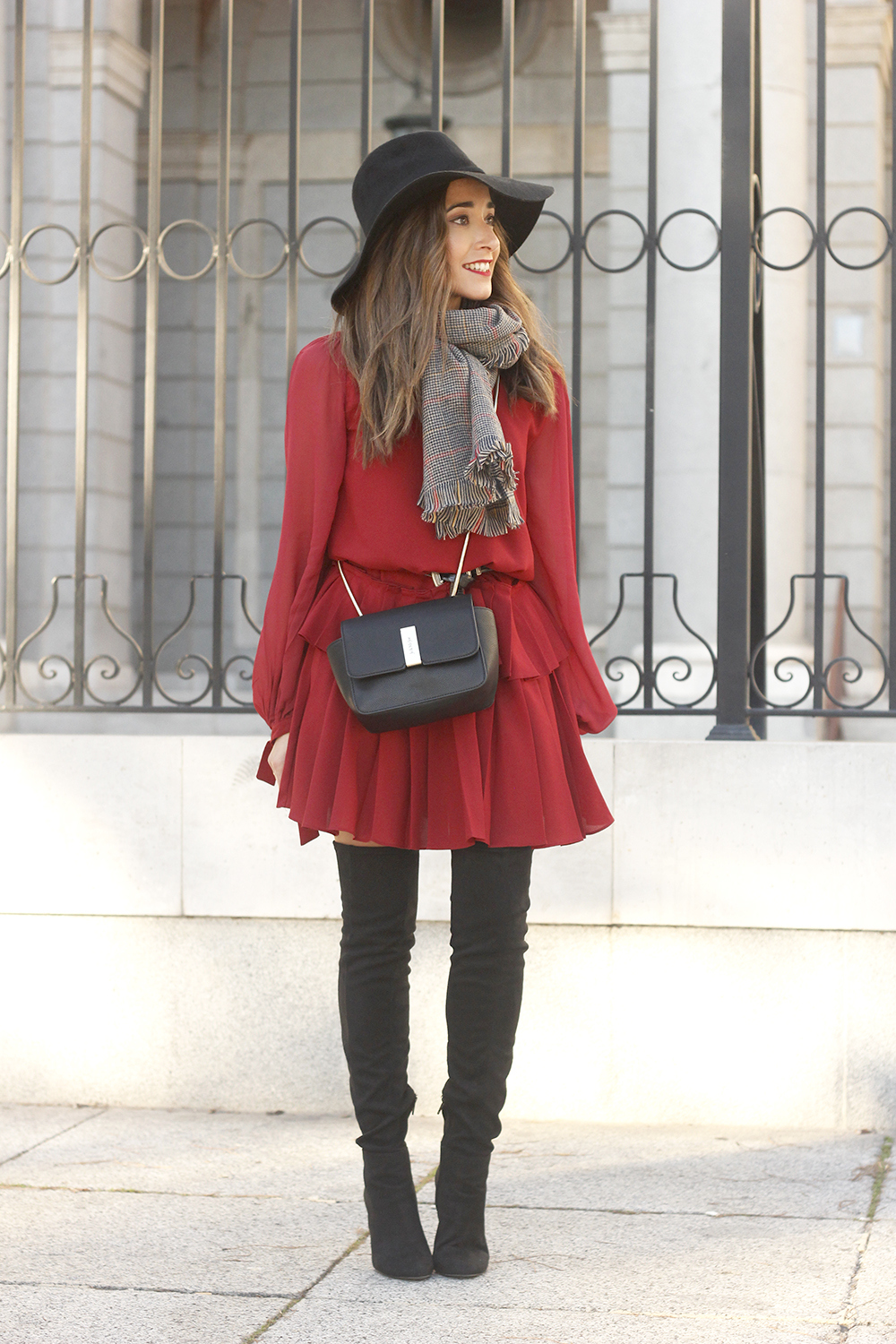 red dress black hat scarf over the knee boots Autumn essentials outfit style fashion fall02