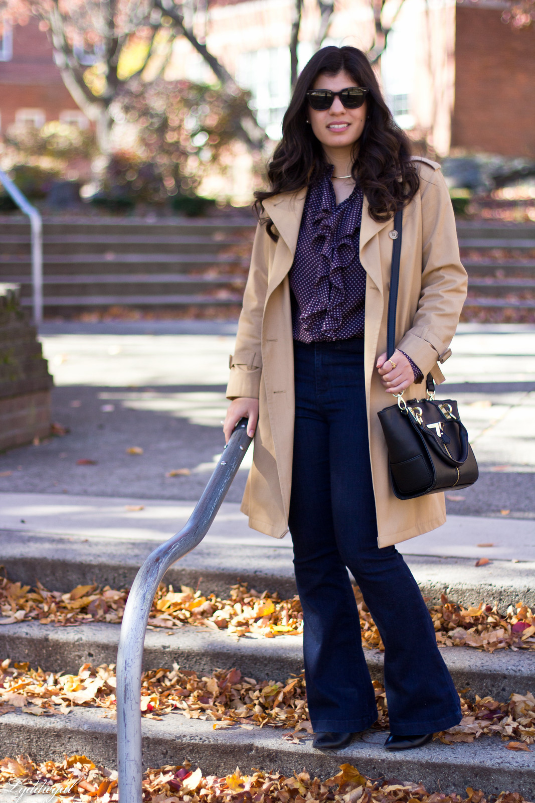 polka dot blouse, flared jeans, trench coat-8.jpg