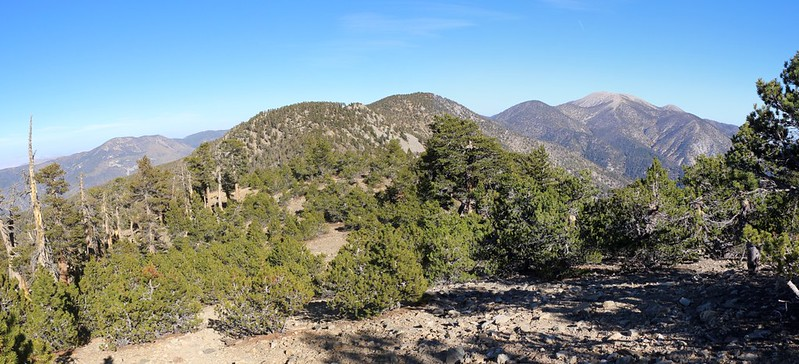 Panorama view east from San Bernardino Peak looking toward San Gorgonio Mountain on the right