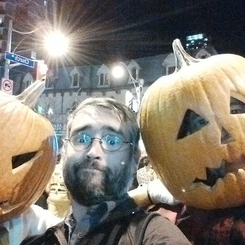 Me and jack-o'-lanterns #toronto #churchandwellesley #churchstreet #halloween #me #selfie #jackolanterns