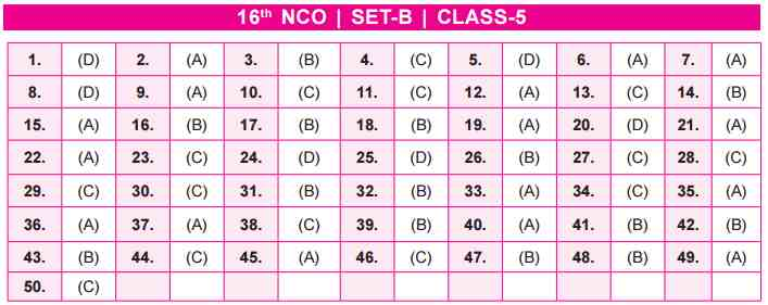 NCO Answer Key Set B Class 5