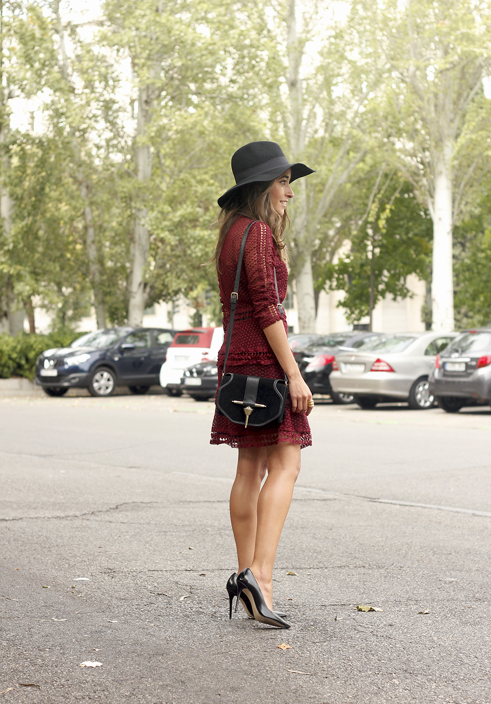 burgundy lace dress black heels hat accessories outfit fashion style13