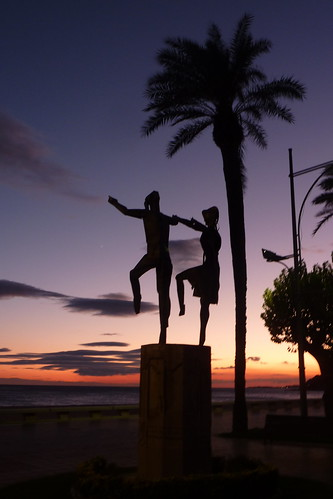 Lloret de Mar - sardana statue at sunset
