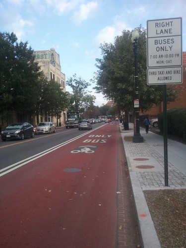 Red painted bus lane on Georgia Avenue NW, DC