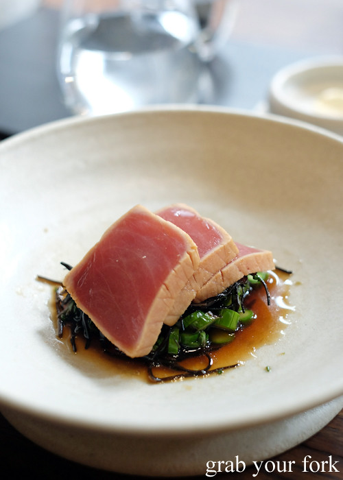 Tuna, asparagus, arame seaweed and malt vinegar at Automata in Chippendale