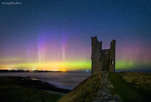 Tower Lights - Aurora Borealis, Dunstanbugh Castle, Northumberland